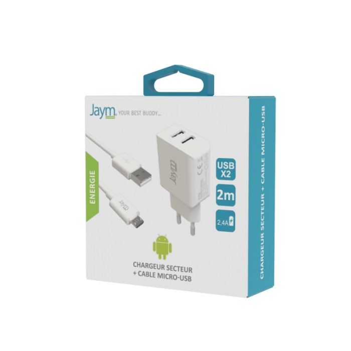 Pack cable micro USB 2m + chargeur secteur 2 USB